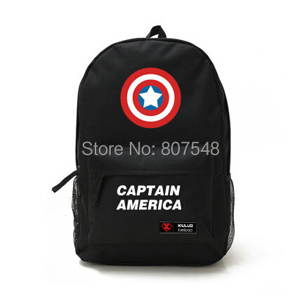 2015 Hot Movie Super Hero Captain America Print Sports Canvas Bag Student School Backpack Black Blue cosplay Free Shipping(China (Mainland))