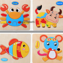 1 Pcs 16 Animals Shapes Jigsaw Hot Wooden Toys For Children Baby Kids Intelligence Educational Toys Cartoon Fallout Toy Puzzle(China (Mainland))