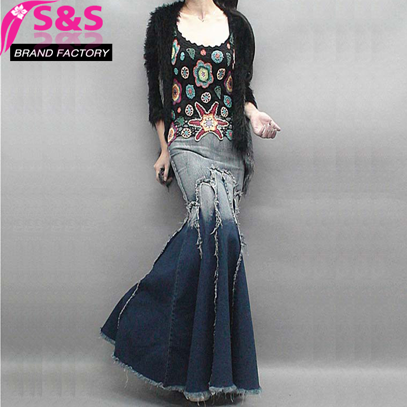 S&S New Free Shipping 2016 New Long Floor Length Denim Jeans Skirts Women Plus Size S - XL Mermaid Style Skirts With Tassels A48