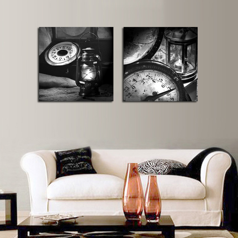 Set of 2 Piece Unframee Classic Oil lamp Old Clock Canvas Spray Painting Home Wall Decor Canvas Printins Picture Art WK546(China (Mainland))