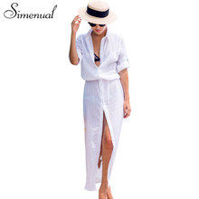 Buy Simenual BOHO white shirt long dress beachwear casual long sleeve sexy hot summer beach maxi dresses women buttons pareos output for $13.99 in AliExpress store