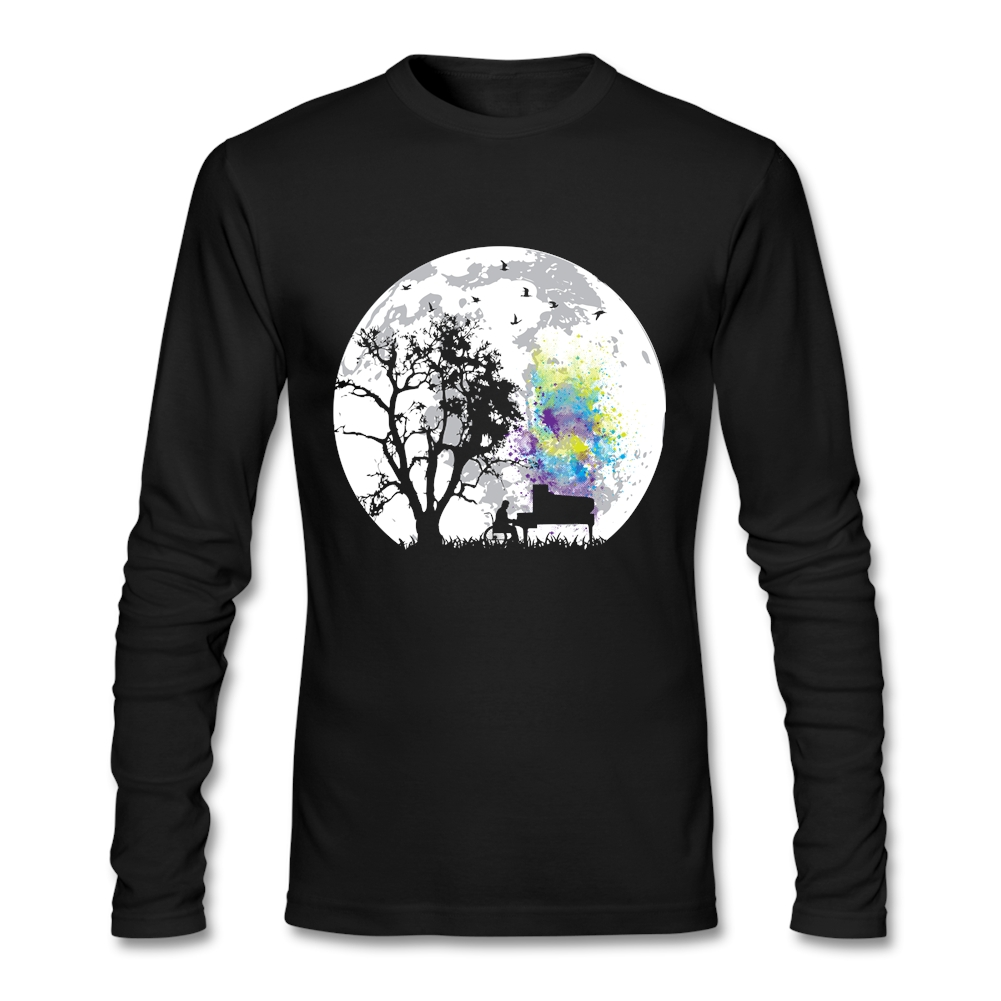 men's Moonlight Song t shirt pop music printed Tops for men Long sleeved country Tee Shirts Cheap Price(China (Mainland))