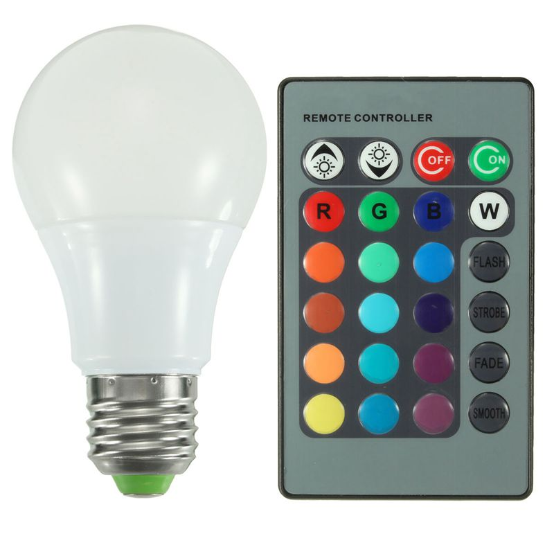 Hot Sale 5W 10W 20W E27 RGB 16 Color Changing LED Globe Light Lamp Bulb AC85-265V With 24 Keys Remote Control(China (Mainland))