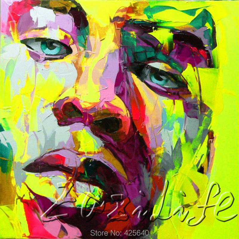 Buy Palette knife portrait Face Oil painting christmas figure canva Hand painted Francoise Nielly wall Art picture for living room59 cheap