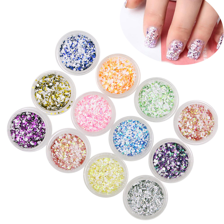 12 colors 3d nail art decoration nail glitter snow powder for Acrylic nail decoration supplies