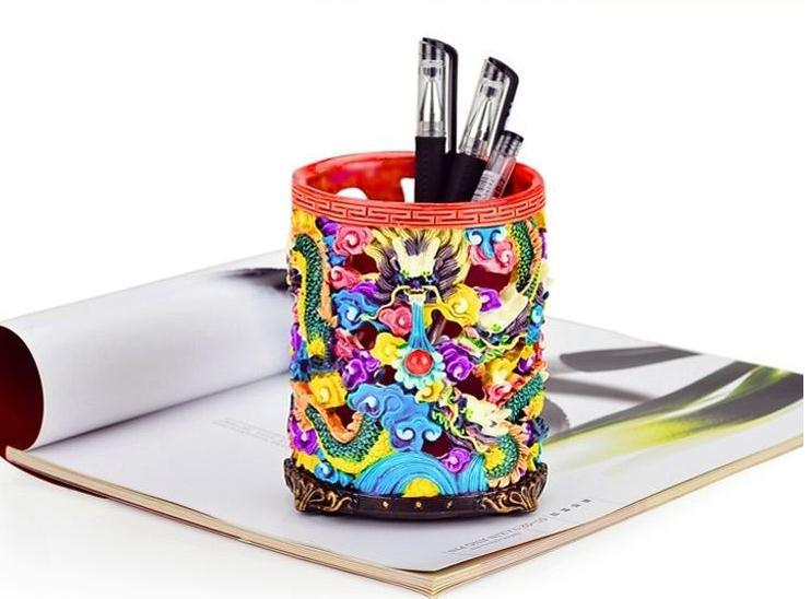 Chinese Retro Fashion Handmade Colorful Polymer Clay Dragon& Treasure Pen Container Decoration Craft(China (Mainland))
