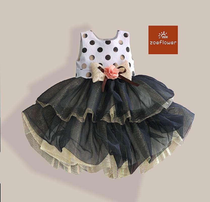 Zoeflower New Girl Dresses Polka Dot Gauze TUTU Party Dress Girl Sundress Wholesale Children Clothing 2-7T 22505