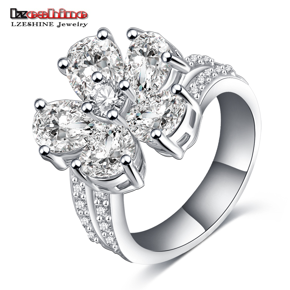 LZESHINE 2016 Summer New Flower Shape Simulated Diamond Ring Platinum Plated Engagement Ring for Women CRI0136-B(China (Mainland))