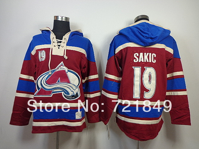 2014 Style! Cheap Colorado Avalanche 19 Joe Sakic Fleece Hooded Mens Jersey Old Time Hockey Hoodies Sweatshirts