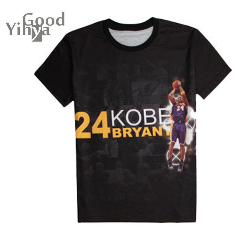 Hot Sale 2016 Summer Designer Shirts Mens New Fashion Character Basketball Star T- Shirt With Kobe Cotton Men Shorts O-neck(China (Mainland))