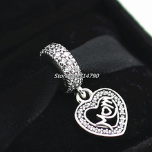 925 Sterling Silver Mon Dangle Bead with Clear Cz Fits European Jewelry Charm Bracelets Necklaces Pendants(China (Mainland))