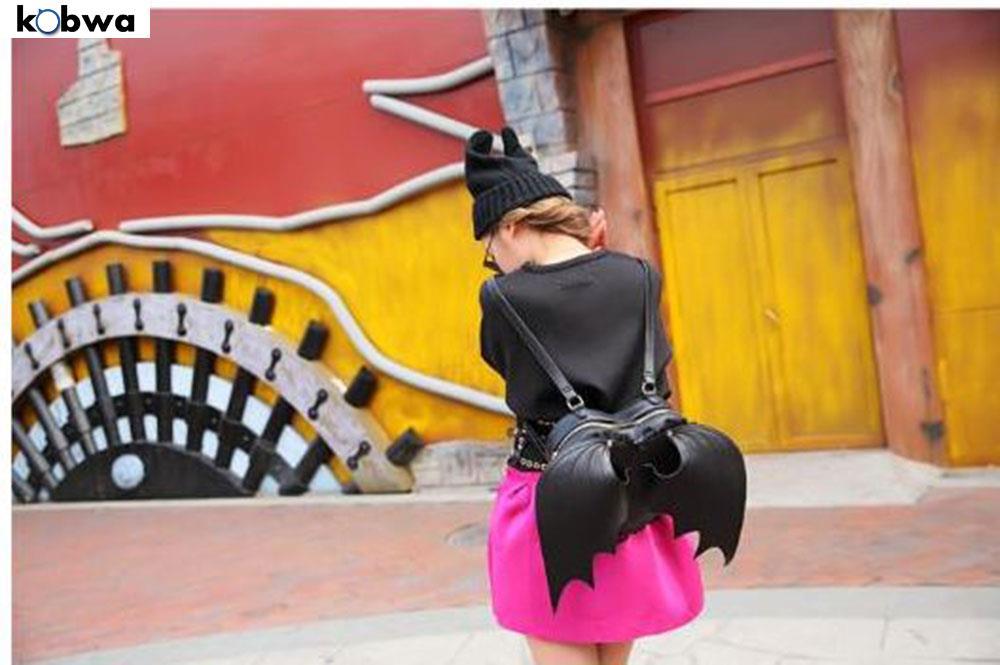 Bat Heart Backpack pu Leather Backpack Heart