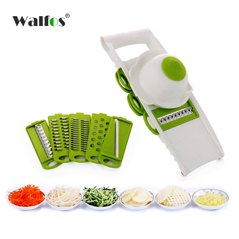 WALFOS Mandoline Slicer Vegetables Cutter with 5 Stainless Steel Blade Carrot Grater Onion Dicer Slicer Kitchen Accessories(China (Mainland))