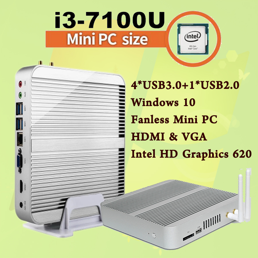 Mini PC [7e Gen Intel Core i3 7100U]4K HDMI&VGA 2017 Kaby Lac Best Windows 10 2.4 GHz HTPC Ordinateur Intel HD Graphics 620(China (Mainland))