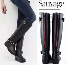 2015 new fashion Women shoes punk style heel riding boots zipper shoes Knight Tall boots Women rain boots large size 41