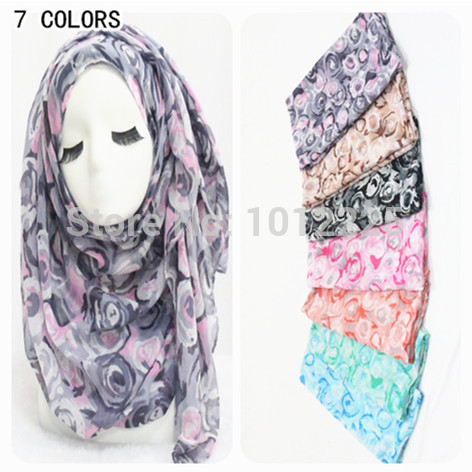 2015 Floral Scarf Women Cute Rose Pattern Shawl Wrap Fashion Islamic Head Scarves Romantic Fashion Large Muffler(China (Mainland))