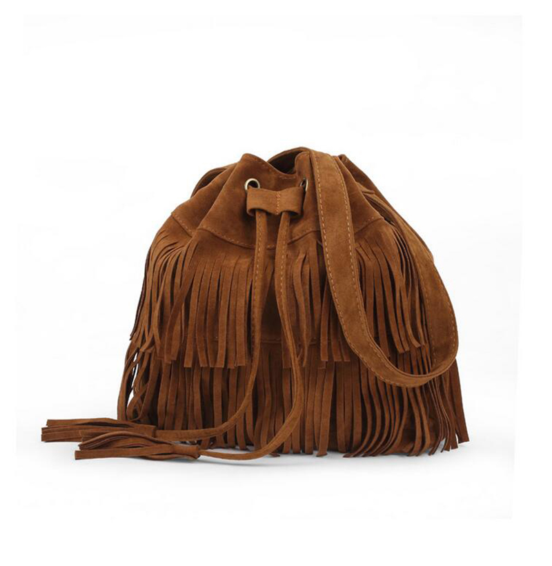 Women Suede Drawstring Bucket Bag Women vintage Handbag Faux Fringe Tassel Shoulder Cross bodybags lady Messenger Bag WHC7521