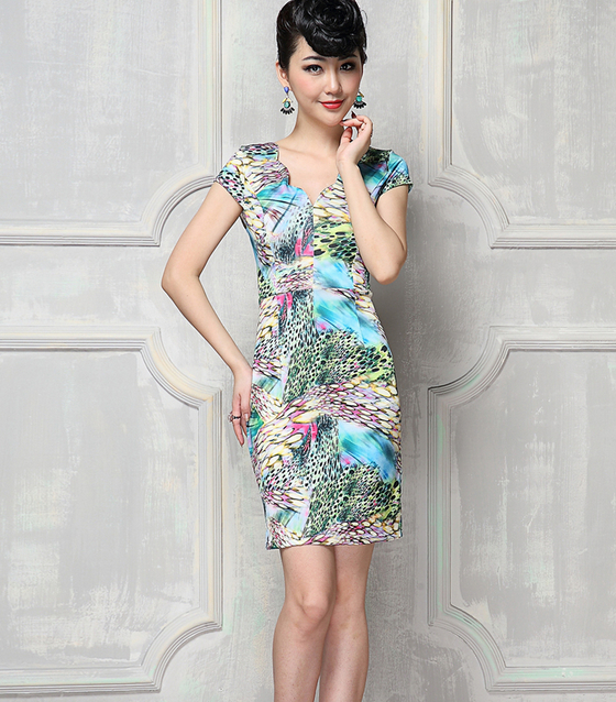 Free shipping 2014 new female tight rayon silk dress The peacock prints Sexy fashion big size clothes(China (Mainland))