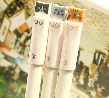 Wholesale/Cute Cat design 0.38mm gel pen/good quality office pens/gift pen(China (Mainland))