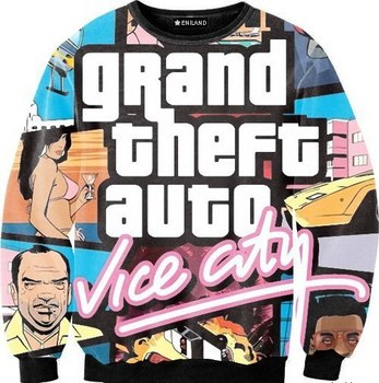 2015 New fashion gta vice city print 3d sweatshirts men/women Harajuku hoodies moleton masculino size S-XXL Free shipping