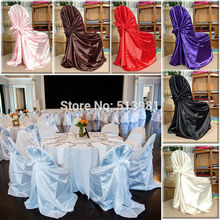 wholesale 50pcs satin universal chair cover for wedding SELF TIE CHAIR COVER FOR RESTAURANT(China (Mainland))
