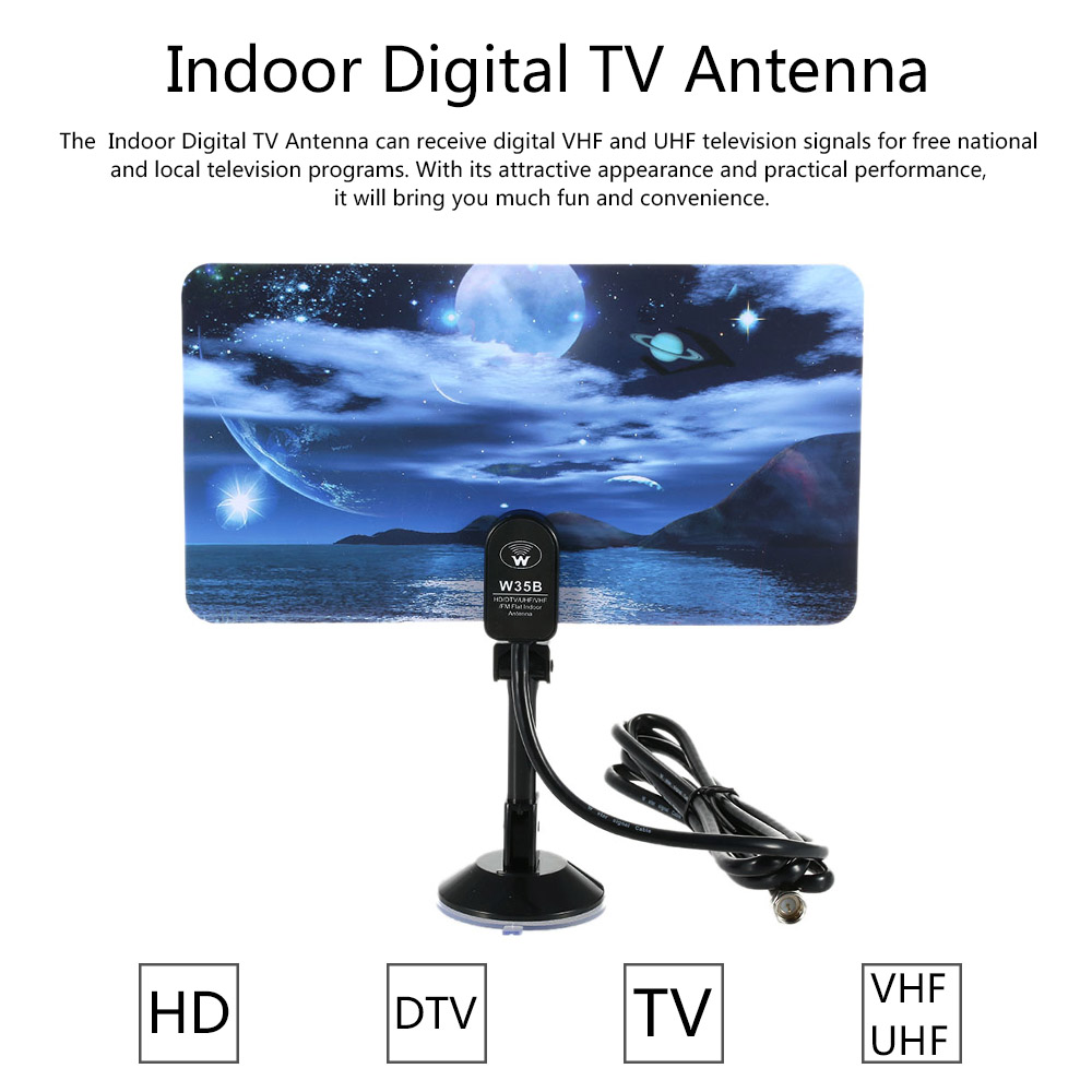 w16PH08 Indoor Digital TV Antenna 35dBi High Gain Full HD 1080p VHF / UHF DVB-T-Aerial F Male Connector for DTV / TV(China (Mainland))