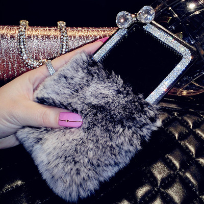 Luxury Rex rabbit fur diamond Flip cover case Samsung galaxy S4 S5 S6 note 2 3 4 N7100 N9000 N9100 phone - 3C Dropshipping Center store