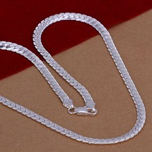 New Listing Hot selling 925 sterling silver 5MM sideways Necklace Fashion trends Jewelry Gifts
