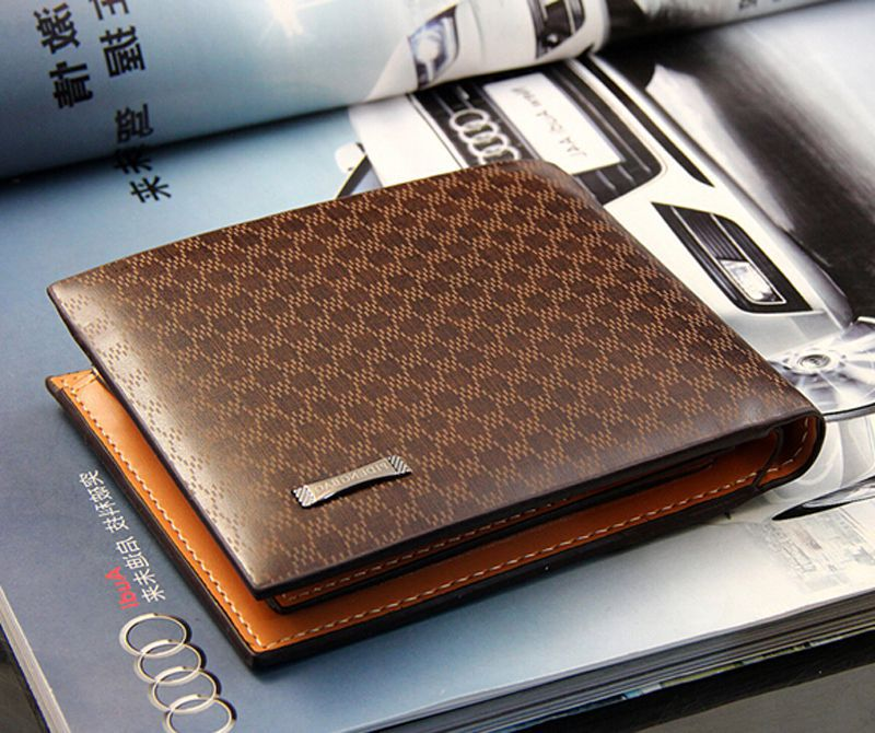 Free Shipping 2015 New Fashion Genuine + PU Leather Plaid Wallet Male Bag Brand Men Wallets credit card holder FYM096A1(China (Mainland))