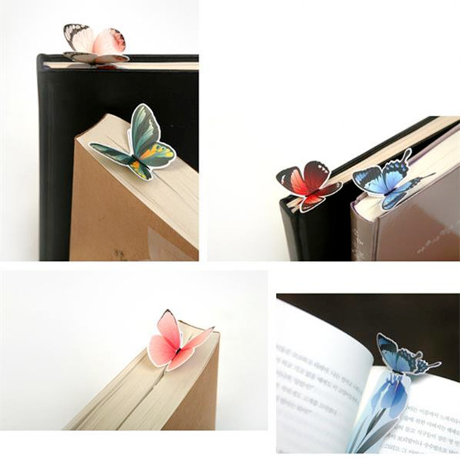 10pcs Creative Butterfly Bookmarks Cartoon Book Marks Paper Clip Office School Gift(China (Mainland))
