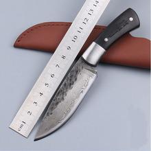 Alta calidad, patrón de forja Manual de hoja de acero, damasco cuchillos, cuchillo de caza 58 hrc, manija cabeza de acero cuchillo de hoja grande