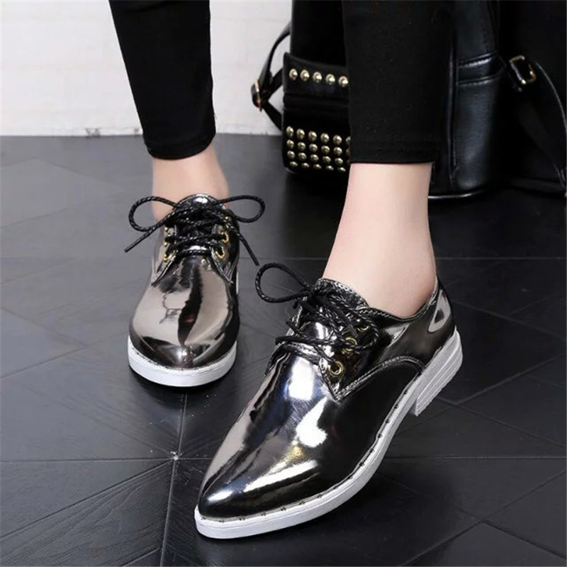 New Style Genuine Leather Blue Women Flats Fashion Rivets Patent Leather Shoes Pointed Toe Platform Shoes G95 35<br><br>Aliexpress