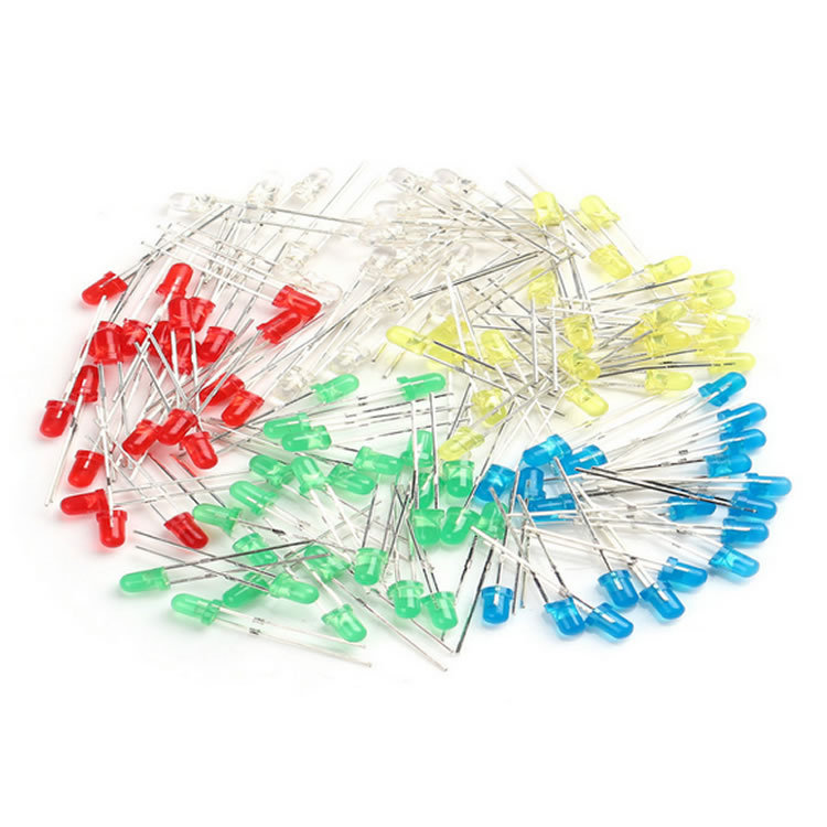 70008 Free shipping 100pcs 3mm LED Light White Yellow Red Green Blue Assorted Kit DIY LEDs