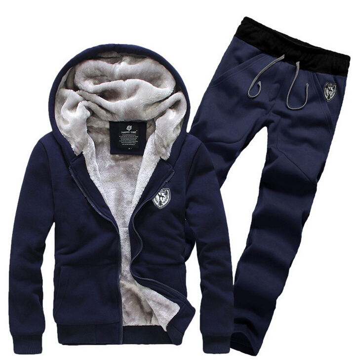 Moleton 2015 Winter Thick Fur Fleece Leisure Mens Hoodies And Sweatshirts Casual Men Sportswear Tracksuit Sports Suit Set R20001(China (Mainland))