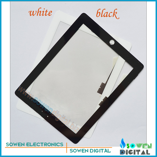 for iPad 4 Touch screen digitizer Touch panel White or Black,100% Original new,1set 3M adhesive Free, Free shipping