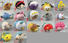 Free Shipping EMS 100/Lot Cinderella Snow white princess Bear Alien Pig Tsum Tsum Plush Toys Smartphone Cleaner Kids 9cm(China (Mainland))