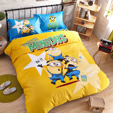 Promotion!Minions Cartoon Kids Bedding Sets Queen Twin Size Bedclothes Quilt/comforter/duvet Cover Sheet Pillowcase 4pc Bed Set(China (Mainland))