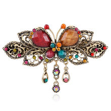 1 PC Elegant Women Lady Retro Vintage Crystal Diamond Butterfly Flower Hairpins Barrettes Hair Clip Hair Accessories(China (Mainland))