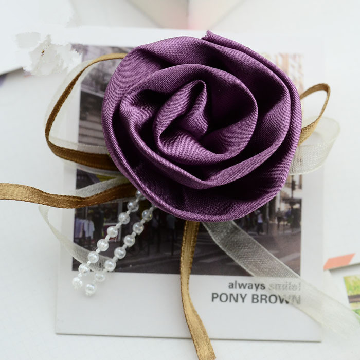 Purple petunia with ribbon and beads flowers hair and shoe accessories kids DIY headband meterial women corsage HTT389(China (Mainland))