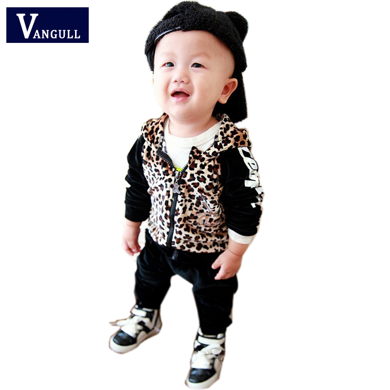 Kids Boys spring 2016 new 1-2-3 baby suit spring section velvet suit children Leopard(China (Mainland))