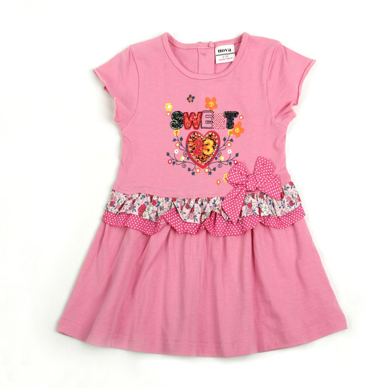 gilr dress the cheapest price 100% cotton hot selling new arrival nova kids brand one piece retial(China (Mainland))