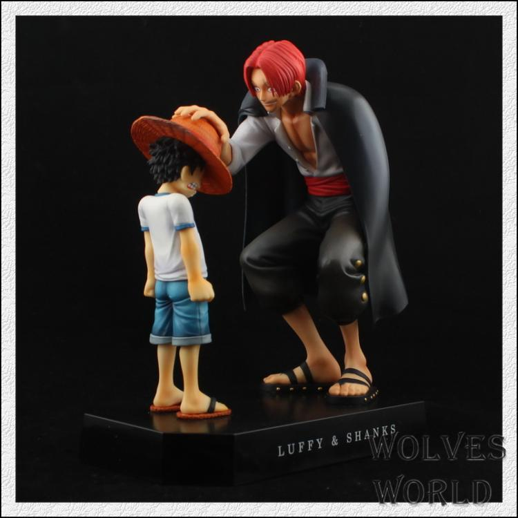 One Piece Anime Straw Hat Luffy & Red Hair Shanks Hand To Do A Scene Recall Papers Doll Ornaments Genuine Red Hair Model Wj337(China (Mainland))