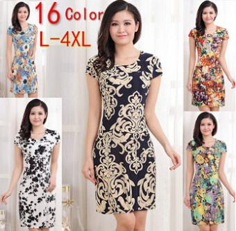 L-4XL 2015 New Fashion Women Summer dress Slim Tunic Milk Silk print Floral dresses Casual Plus Size sexy bodycon dress vestidos(China (Mainland))