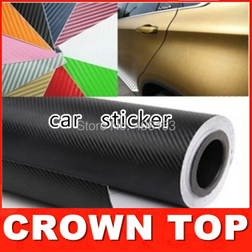 New 2015 Car Styling High Quality Car Stickers And Decals 60W x 10L cm 6color 3D Carbon Fiber Sheet Film Vinyl Car Sticker(China (Mainland))