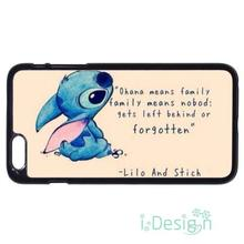 Fit for iPhone 4 4s 5 5s 5c se 6 6s 7 plus ipod touch 4/5/6 back skins cellphone case cover Stitch & Lilo Ohana Family