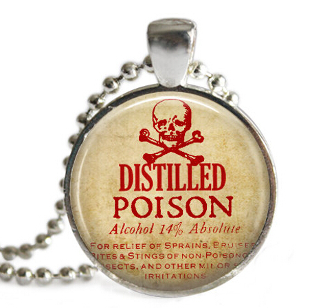 Customize glass Distilled Poison necklace Vintage Label,Picture Pendant, Medical Jewelry necklace,Skull Pendant Poison Necklace(China (Mainland))