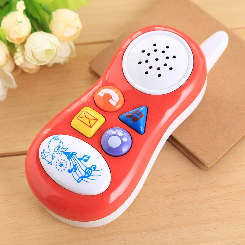 New Press Button Cartoon Play Talking Sound Educational Toy Gift Funny Baby Kids Cell Phone Random Colors Free Shipping(China (Mainland))