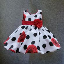 toddler girls print dress Dot floral pattern infant dress for birthday sleeveless high street(China (Mainland))