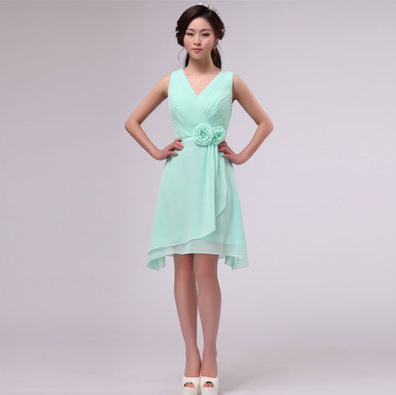 Chiffon maxi bridesmaid 12 size girls mint short dress for Size 12 dresses for wedding guests