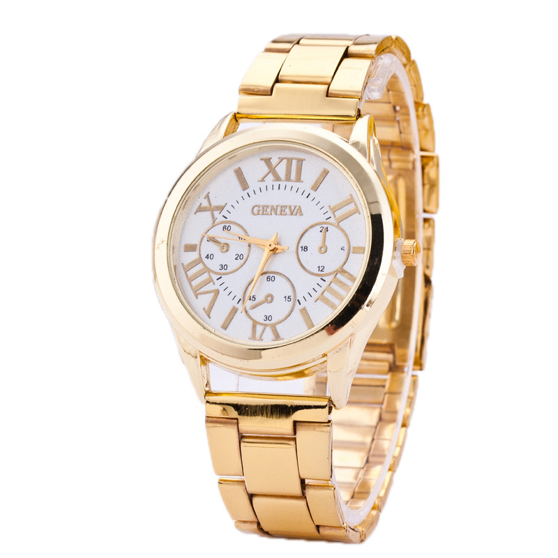 new 2015 stainless steel geneva gold watches